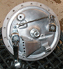 Honda 350 180mm backing plate with a fabricated scoop