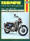 Triumph 650 & 750 Twin Owners Workshop Manual/1963-83, by Haynes